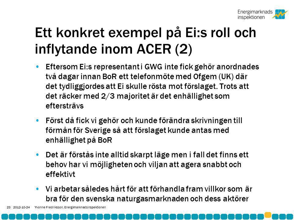 Ett konkret exempel på Ei:s roll och inflytande inom ACER (2) •Eftersom Ei:s representant i GWG inte fick gehör anordnades två dagar innan BoR ett telefonmöte med Ofgem (UK) där det tydliggjordes att Ei skulle rösta mot förslaget.