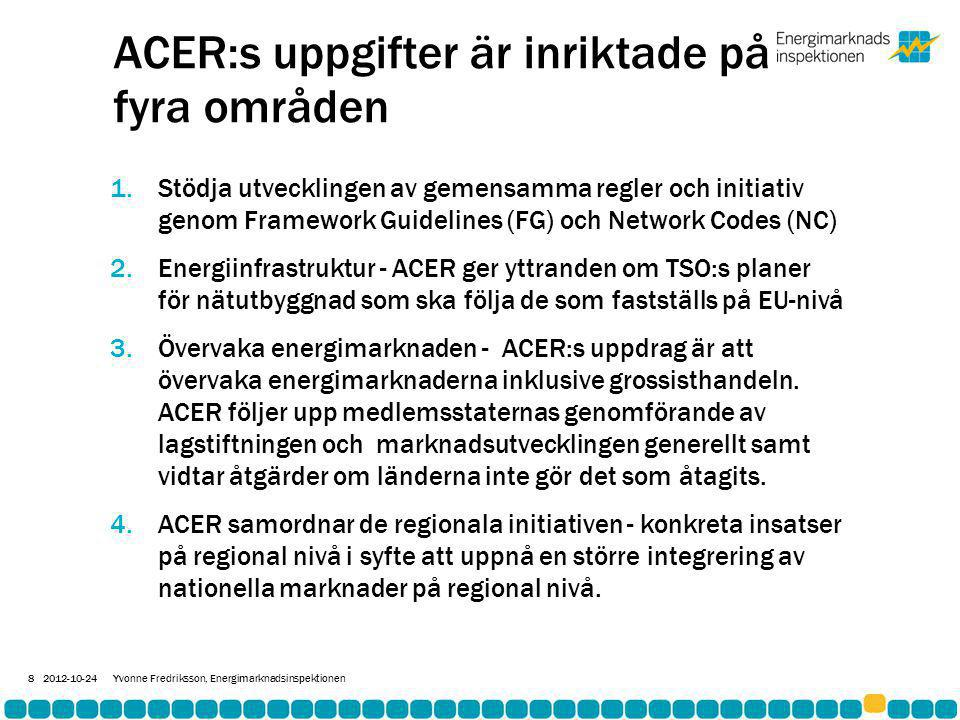 ACER:s uppgifter är inriktade på fyra områden 1.Stödja utvecklingen av gemensamma regler och initiativ genom Framework Guidelines (FG) och Network Codes (NC) 2.Energiinfrastruktur - ACER ger yttranden om TSO:s planer för nätutbyggnad som ska följa de som fastställs på EU-nivå 3.Övervaka energimarknaden - ACER:s uppdrag är att övervaka energimarknaderna inklusive grossisthandeln.