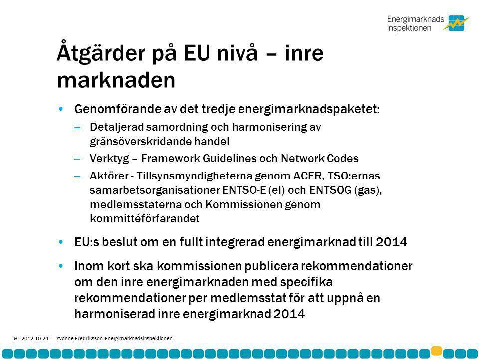 Åtgärder på EU nivå – inre marknaden •Genomförande av det tredje energimarknadspaketet: – Detaljerad samordning och harmonisering av gränsöverskridande handel – Verktyg – Framework Guidelines och Network Codes – Aktörer - Tillsynsmyndigheterna genom ACER, TSO:ernas samarbetsorganisationer ENTSO-E (el) och ENTSOG (gas), medlemsstaterna och Kommissionen genom kommittéförfarandet •EU:s beslut om en fullt integrerad energimarknad till 2014 •Inom kort ska kommissionen publicera rekommendationer om den inre energimarknaden med specifika rekommendationer per medlemsstat för att uppnå en harmoniserad inre energimarknad 2014 2012-10-24Yvonne Fredriksson, Energimarknadsinspektionen 9