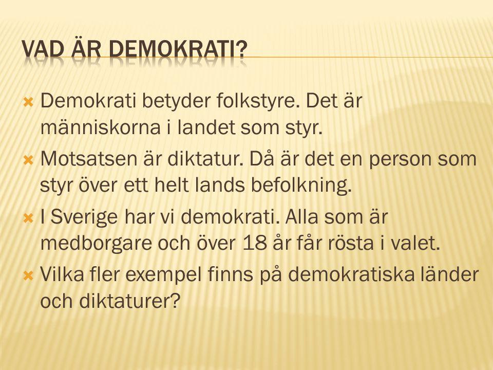  Demokrati betyder folkstyre. Det är människorna i landet som styr.  Motsatsen är diktatur. Då är det en person som styr över ett helt lands befolkn