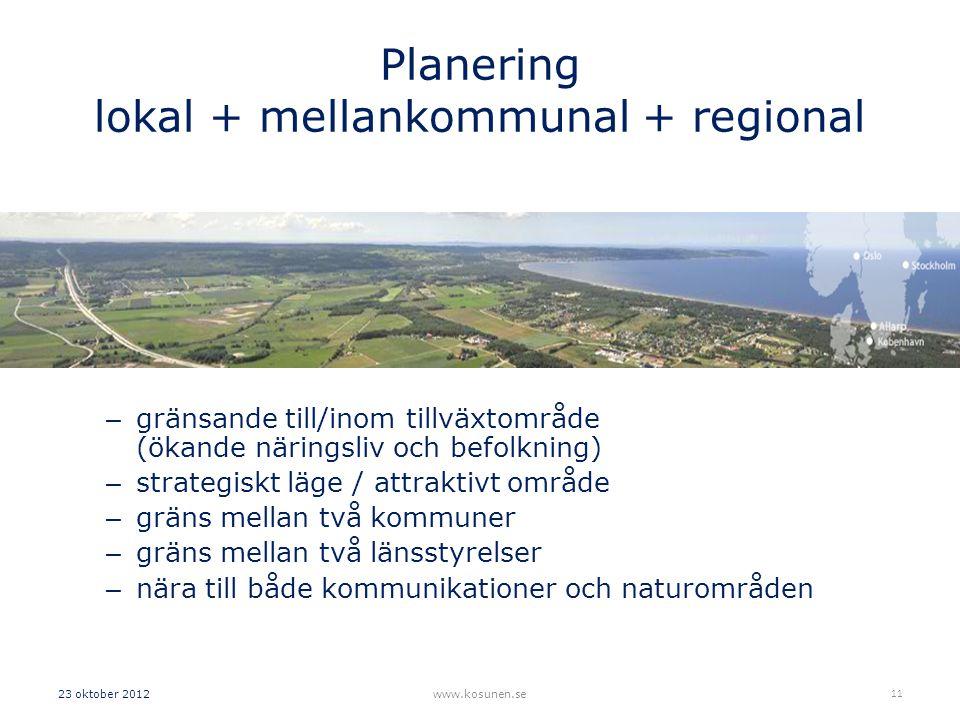 Planering lokal + mellankommunal + regional – gränsande till/inom tillväxtområde (ökande näringsliv och befolkning) – strategiskt läge / attraktivt område – gräns mellan två kommuner – gräns mellan två länsstyrelser – nära till både kommunikationer och naturområden 23 oktober 2012www.kosunen.se 11