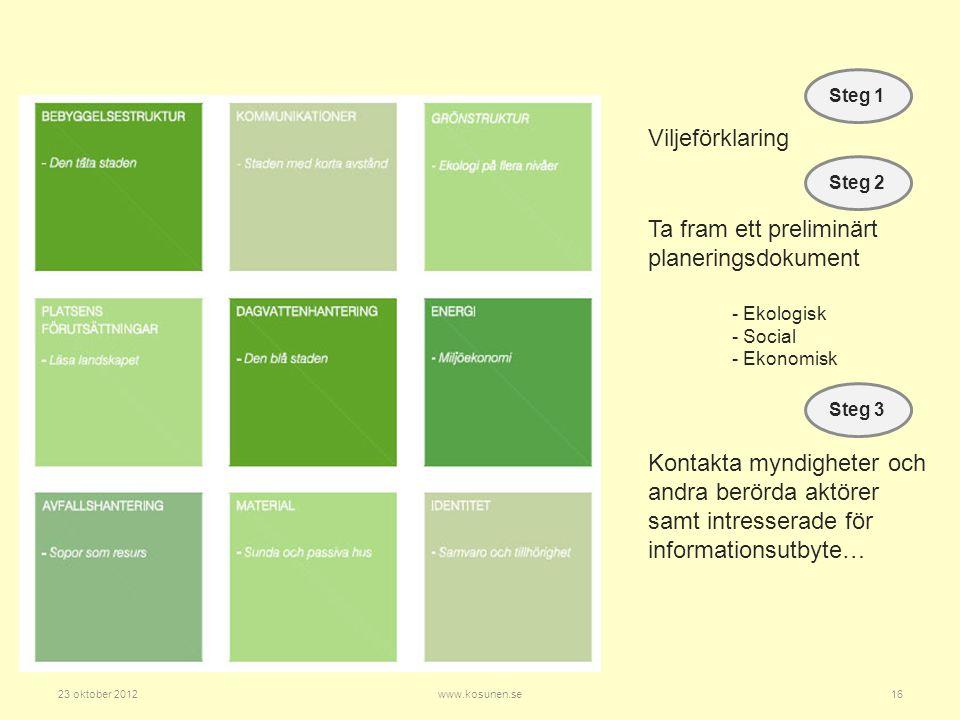 Ta fram ett preliminärt planeringsdokument - Ekologisk - Social - Ekonomisk Steg 1 Steg 2 Viljeförklaring Steg 3 Kontakta myndigheter och andra berörda aktörer samt intresserade för informationsutbyte… 23 oktober 2012www.kosunen.se16