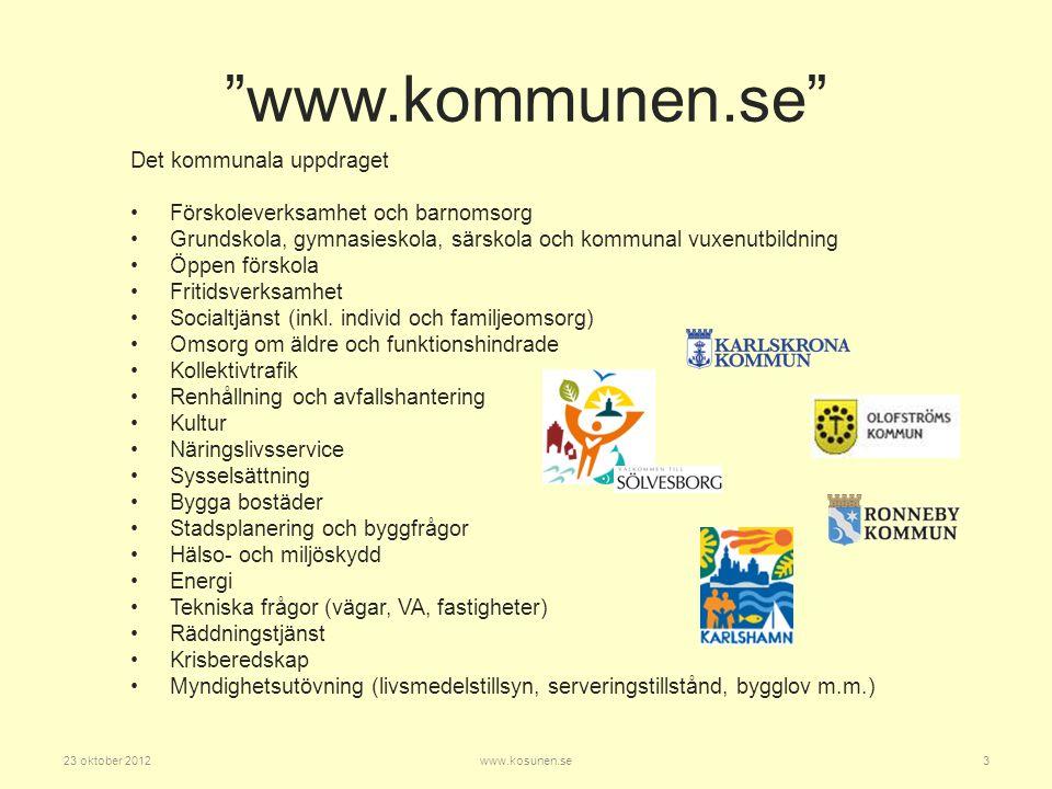 23 oktober 201214www.kosunen.se