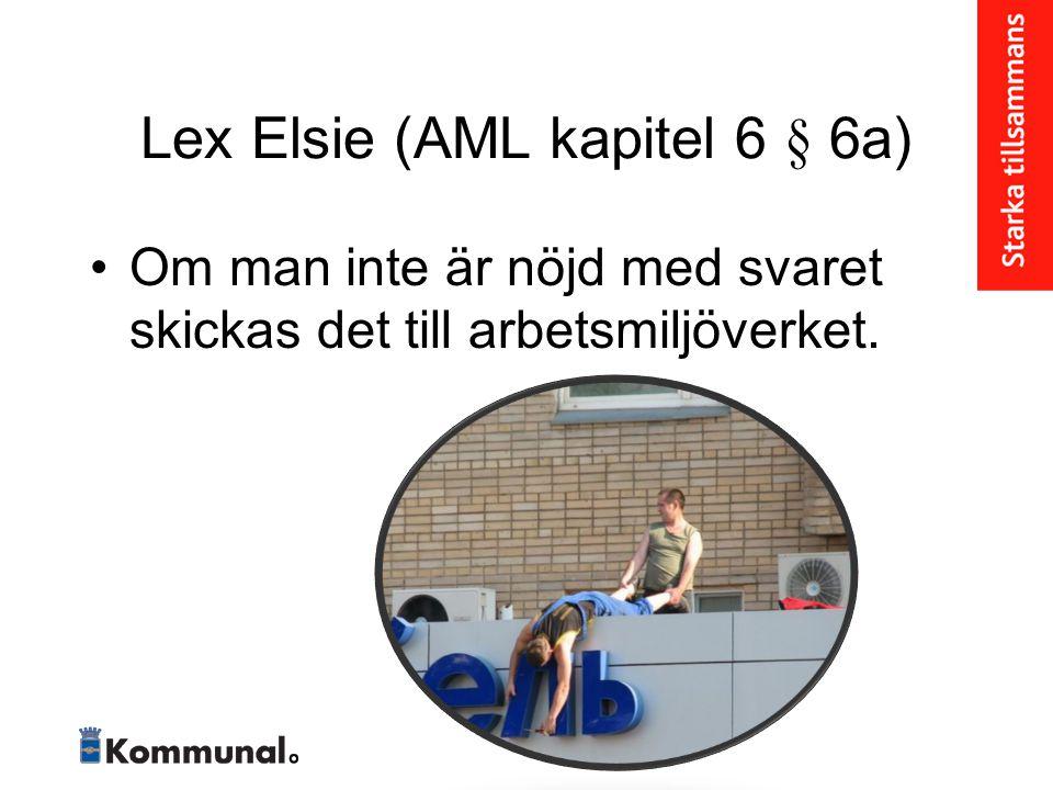 Lex Elsie (AML kapitel 6 § 6a) • Om man inte är nöjd med svaret skickas det till arbetsmiljöverket.