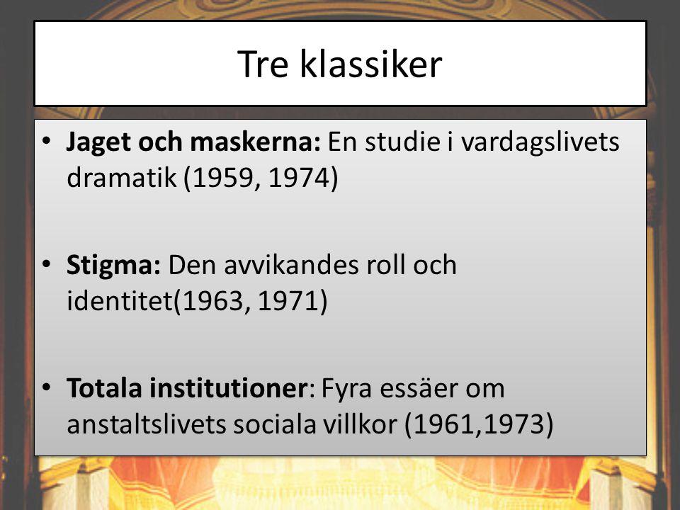 Tre klassiker • Jaget och maskerna: En studie i vardagslivets dramatik (1959, 1974) • Stigma: Den avvikandes roll och identitet(1963, 1971) • Totala i