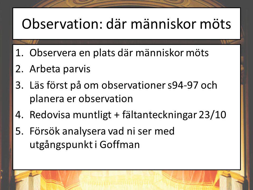 Observation: där människor möts 1.Observera en plats där människor möts 2.Arbeta parvis 3.Läs först på om observationer s94-97 och planera er observat