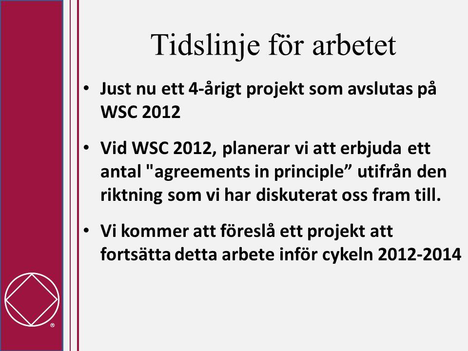  Tidslinje för arbetet • Just nu ett 4-årigt projekt som avslutas på WSC 2012 • Vid WSC 2012, planerar vi att erbjuda ett antal agreements in principle utifrån den riktning som vi har diskuterat oss fram till.