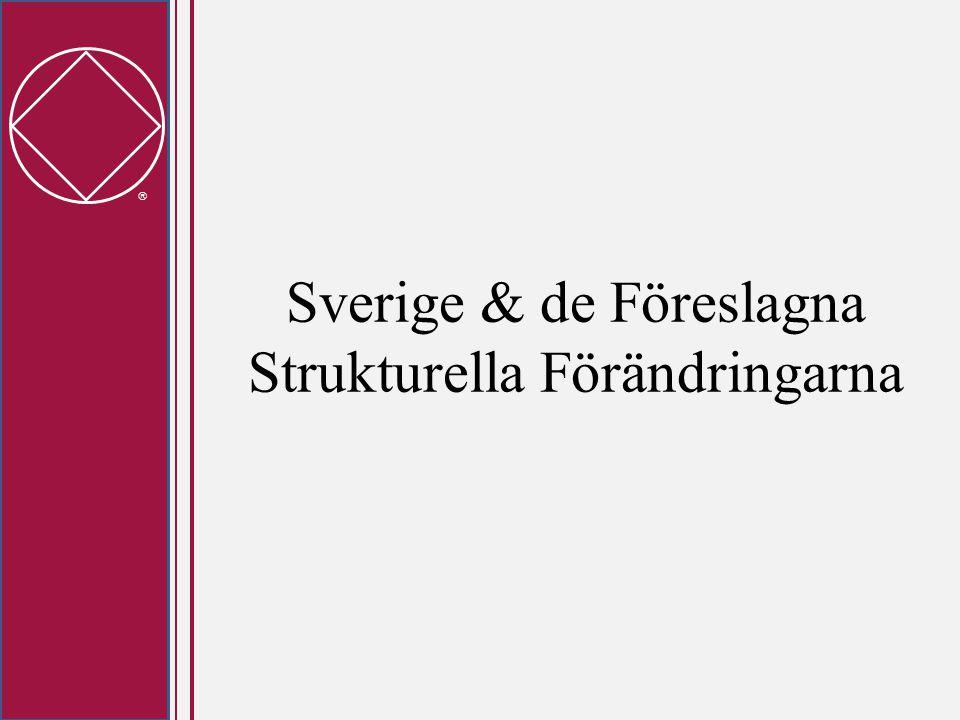  Stat/Nationella Service Organ Relevans för Sverige: • Mer relevant för USA där regionala gränser oftast inte är statliga gränser idag • Ingen strukturell förändring på nationell nivå, dock möjligtvis förändringar i våra processer • Det senaste förslagsutkastet, ger oss en bild av de första tankarna kring Processer