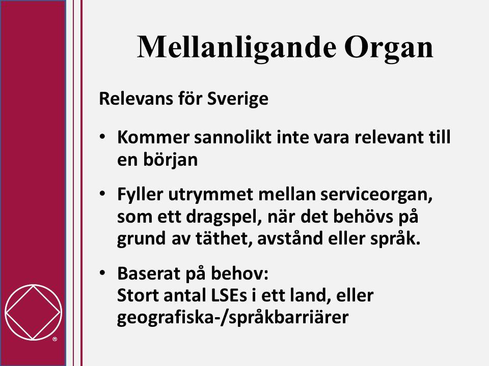  Mellanligande Organ Relevans för Sverige • Kommer sannolikt inte vara relevant till en början • Fyller utrymmet mellan serviceorgan, som ett dragspel, när det behövs på grund av täthet, avstånd eller språk.