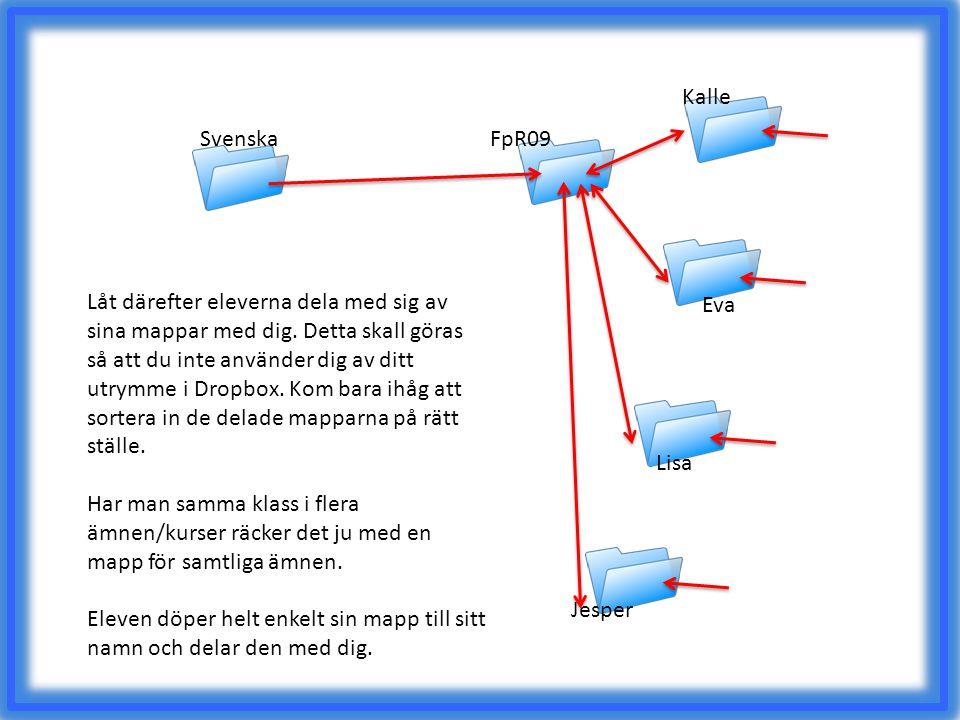FpR09 Kalle Eva Lisa Jesper Svenska Låt därefter eleverna dela med sig av sina mappar med dig. Detta skall göras så att du inte använder dig av ditt u