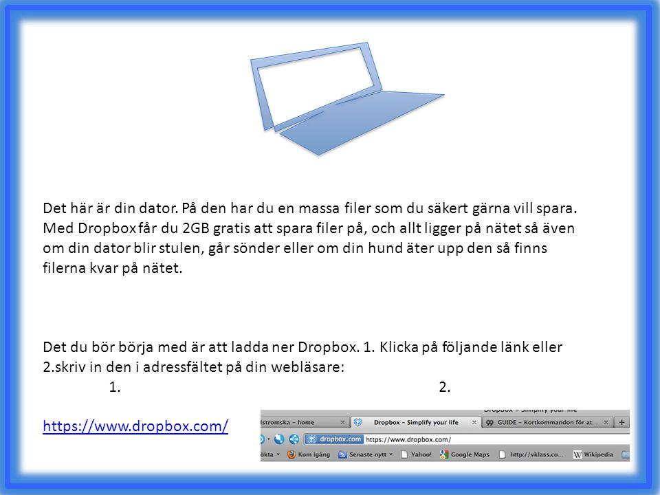 Det här är din dator. På den har du en massa filer som du säkert gärna vill spara. Med Dropbox får du 2GB gratis att spara filer på, och allt ligger p