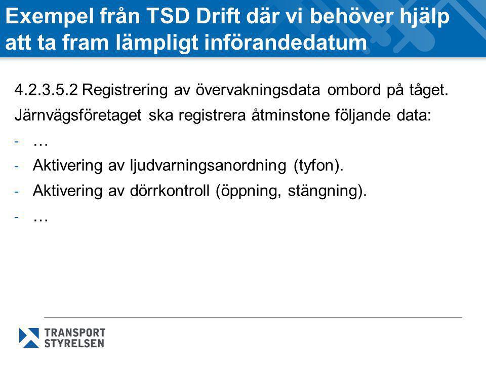 Exempel från TSD Drift där vi behöver hjälp att ta fram lämpligt införandedatum 4.2.3.5.2 Registrering av övervakningsdata ombord på tåget. Järnvägsfö