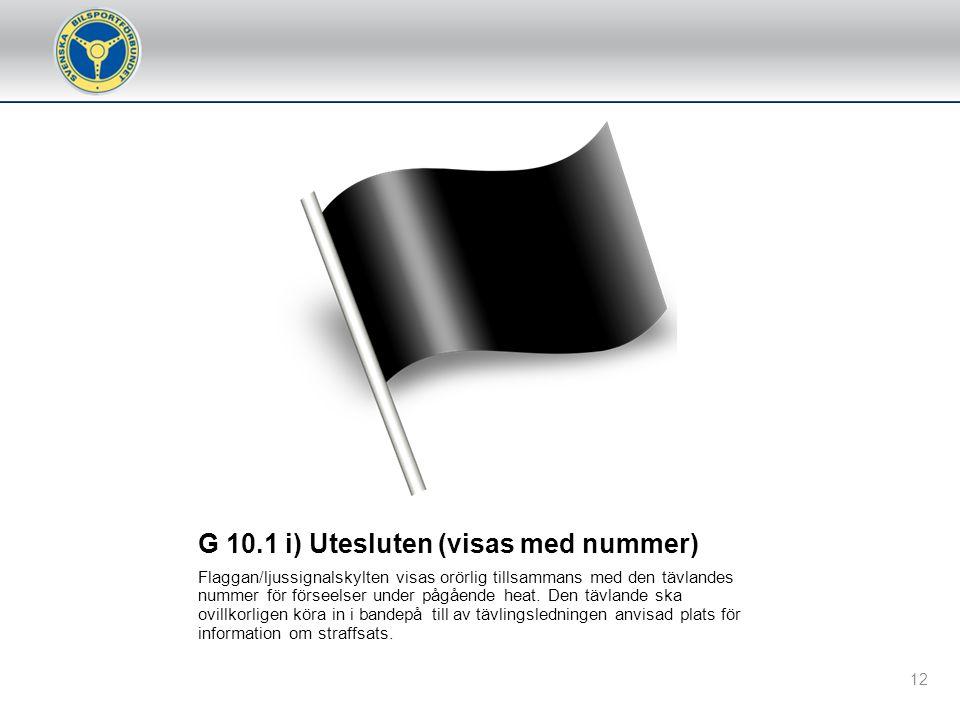 G 10.1 k) Observationsflagga (visas med nummer) Flaggan/ljussignalskylt visas orörlig tillsammans med den tävlandes nummer och innebär att den tävland