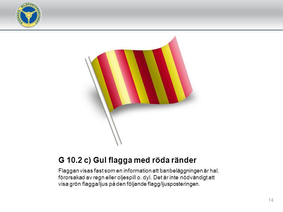 G 10.1 j) Teknisk flagg (visas med nummer) Används för att informera förare att dennes bil har ett tekniskt fel som kan vara en fara för föraren och/e