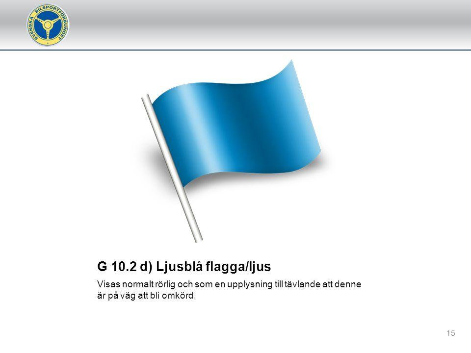 G 10.2 c) Gul flagga med röda ränder Flaggan visas fast som en information att banbeläggningen är hal, förorsakad av regn eller oljespill o. dyl. Det