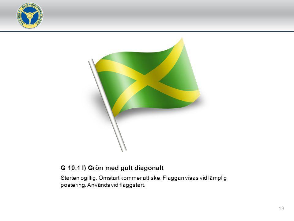 G 10.2 e) Vit flagga/ljus Flaggan/ljuset, som ska visas rörlig/blinkande, upplyser tävlande om att ett fordon rör sig betydligt långsammare inom den s