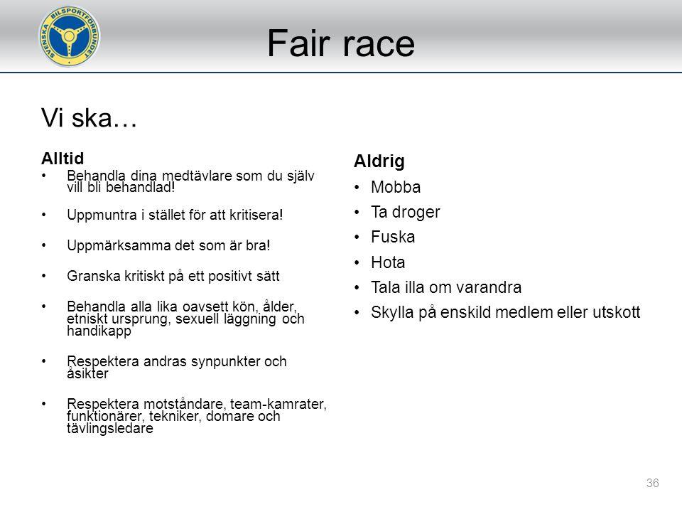Tävlingsmoment FörarsammanträdeBesiktningTidskörningHeatFörfinalFinalPrisutdelning 35