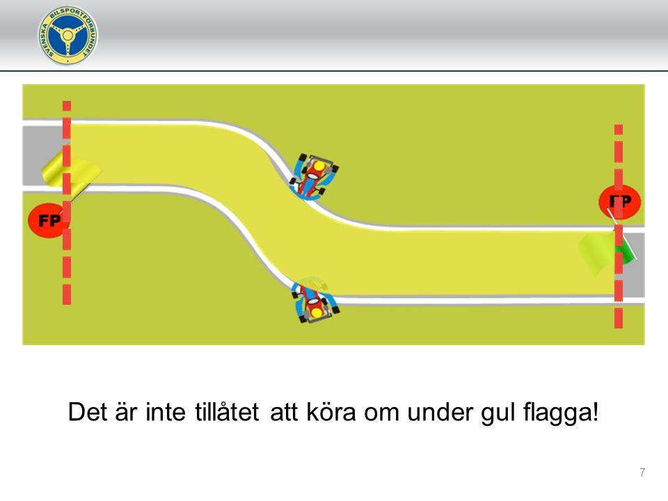 G 10.2 e) Vit flagga/ljus Flaggan/ljuset, som ska visas rörlig/blinkande, upplyser tävlande om att ett fordon rör sig betydligt långsammare inom den sektion där flaggan/ljuset visas.