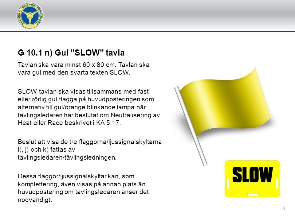 G 10.1 l) Grön med gult diagonalt Starten ogiltig.