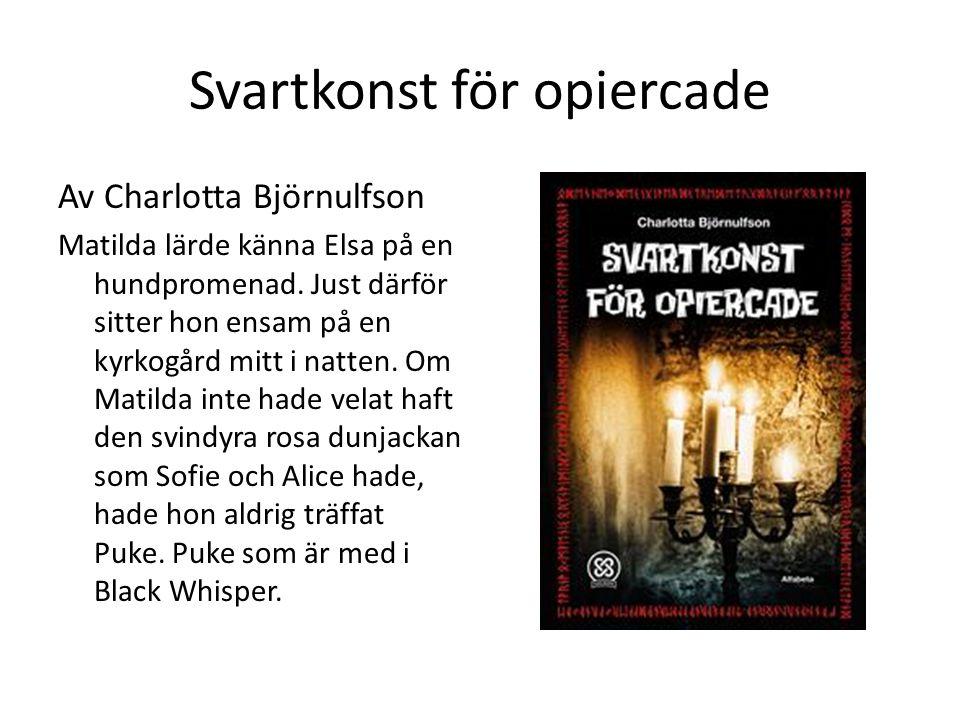 Svartkonst för opiercade Av Charlotta Björnulfson Matilda lärde känna Elsa på en hundpromenad. Just därför sitter hon ensam på en kyrkogård mitt i nat