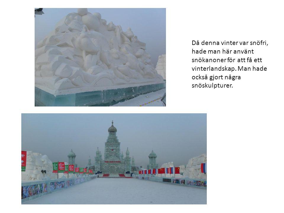 Då denna vinter var snöfri, hade man här använt snökanoner för att få ett vinterlandskap.