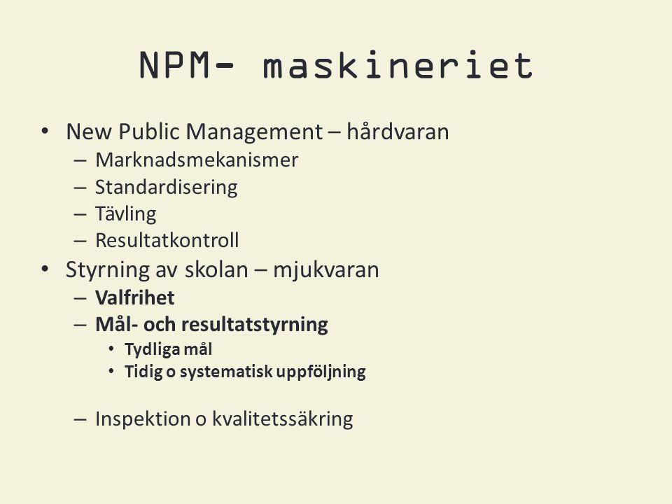 NPM- maskineriet • New Public Management – hårdvaran – Marknadsmekanismer – Standardisering – Tävling – Resultatkontroll • Styrning av skolan – mjukvaran – Valfrihet – Mål- och resultatstyrning • Tydliga mål • Tidig o systematisk uppföljning – Inspektion o kvalitetssäkring
