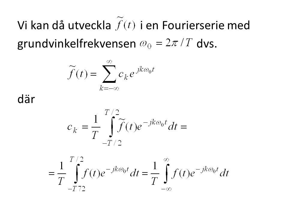Låt oss nu införa beteckningen så att Sätter vi in detta uttryck för i Fourierserien för och betraktar i intervallet så får vi att
