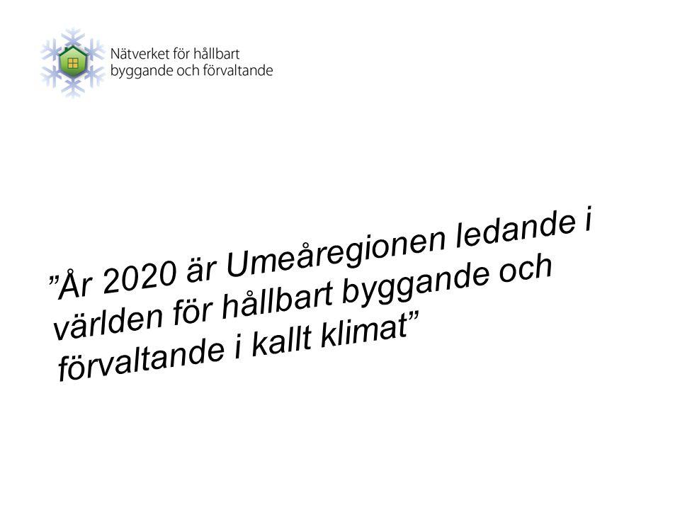 """""""År 2020 är Umeåregionen ledande i världen för hållbart byggande och förvaltande i kallt klimat"""""""