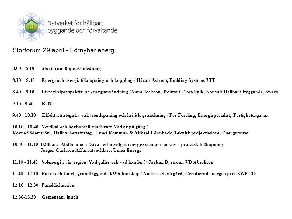 Storforum 29 april - Förnybar energi 8.00 – 8.10 Storforum öppnas/Inledning 8.10 - 8.40Energi och exergi, tillämpning och koppling / Håcan Åström, Bui