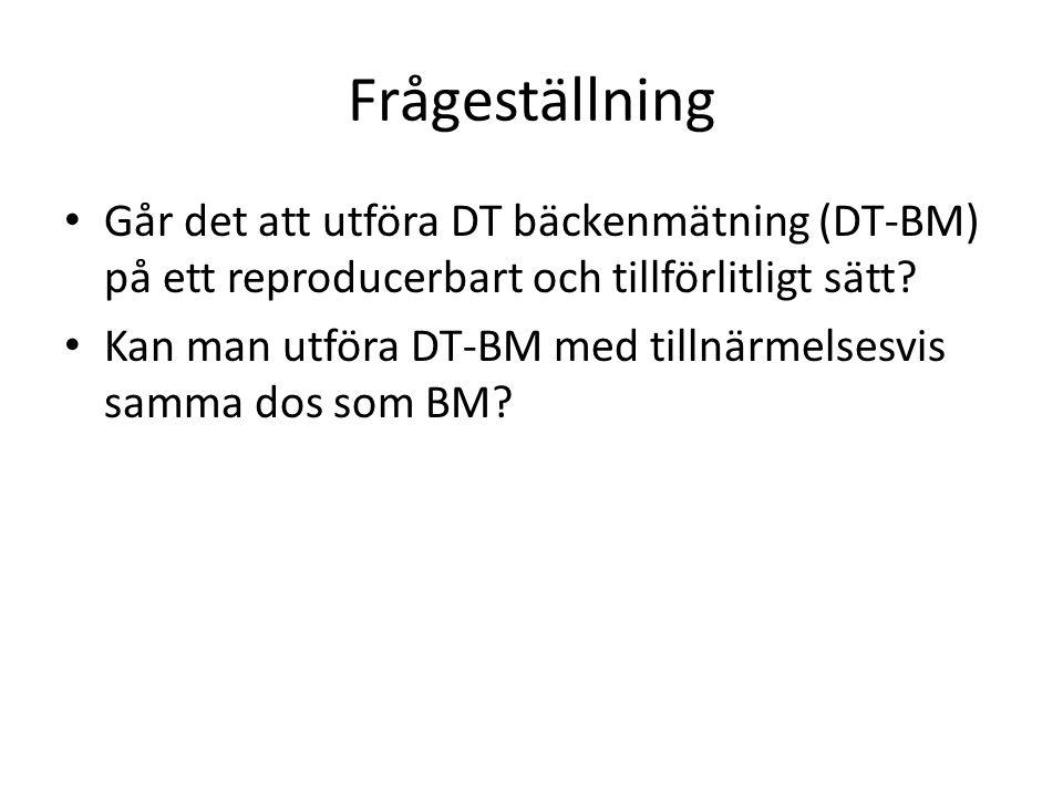 Frågeställning • Går det att utföra DT bäckenmätning (DT-BM) på ett reproducerbart och tillförlitligt sätt.