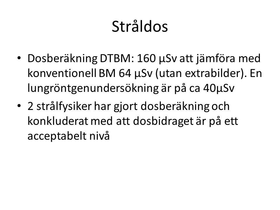 Stråldos • Dosberäkning DTBM: 160 µSv att jämföra med konventionell BM 64 µSv (utan extrabilder).