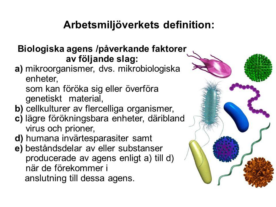 Riskklass 1 •Till riskklass 1 hör biologiska agens som normalt inte orsakar infektioner hos människa och icke- patogena stammar av sjukdomsalstrande biologiska agens.