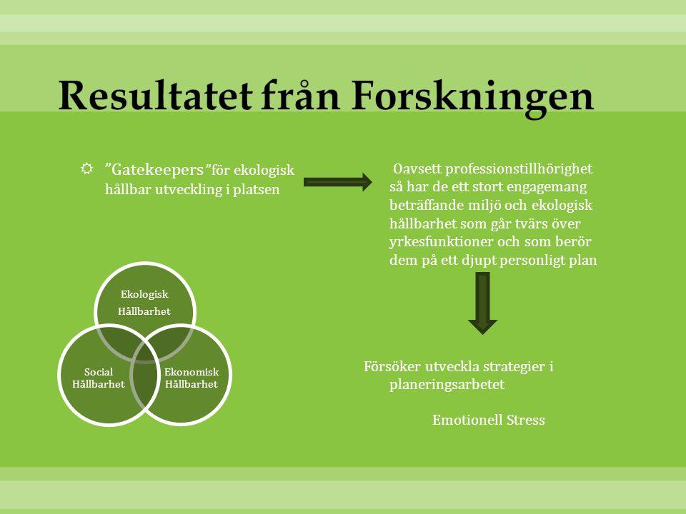  Gatekeepers för ekologisk hållbar utveckling i platsen Oavsett professionstillhörighet så har de ett stort engagemang beträffande miljö och ekologisk hållbarhet som går tvärs över yrkesfunktioner och som berör dem på ett djupt personligt plan Försöker utveckla strategier i planeringsarbetet Emotionell Stress Ekologisk Hållbarhet Ekonomisk Hållbarhet Social Hållbarhet
