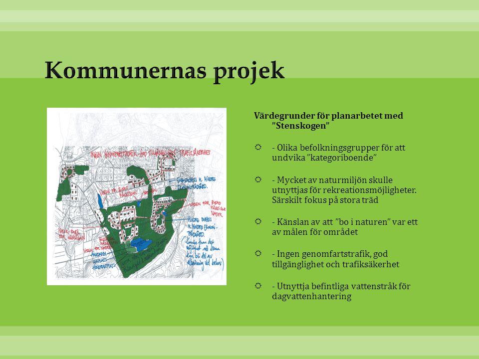 """Värdegrunder för planarbetet med """"Stenskogen""""  - Olika befolkningsgrupper för att undvika """"kategoriboende""""  - Mycket av naturmiljön skulle utnyttjas"""
