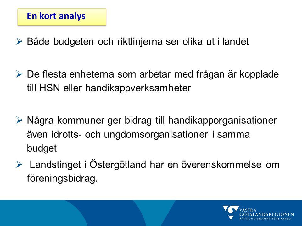  Både budgeten och riktlinjerna ser olika ut i landet  De flesta enheterna som arbetar med frågan är kopplade till HSN eller handikappverksamheter 