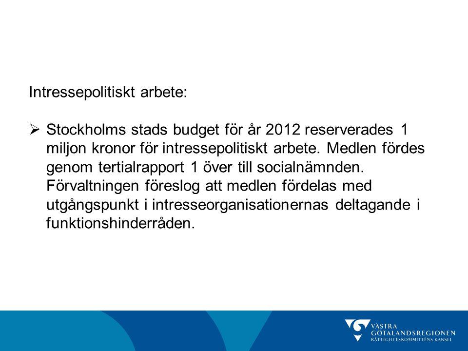 Intressepolitiskt arbete:  Stockholms stads budget för år 2012 reserverades 1 miljon kronor för intressepolitiskt arbete. Medlen fördes genom tertial