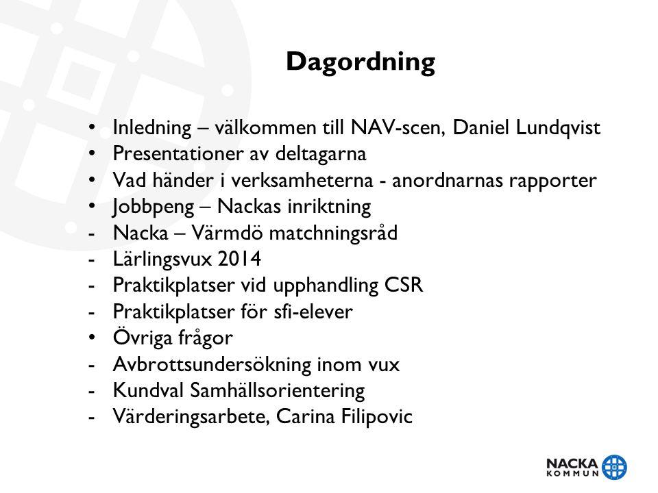 Dagordning • Inledning – välkommen till NAV-scen, Daniel Lundqvist • Presentationer av deltagarna • Vad händer i verksamheterna - anordnarnas rapporte