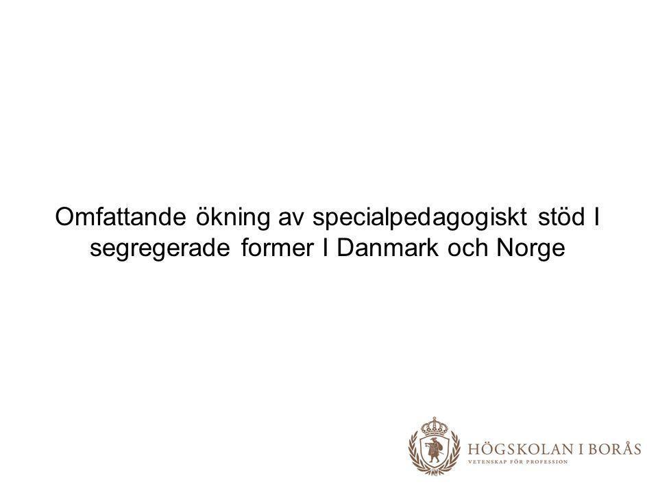 Omfattande ökning av specialpedagogiskt stöd I segregerade former I Danmark och Norge
