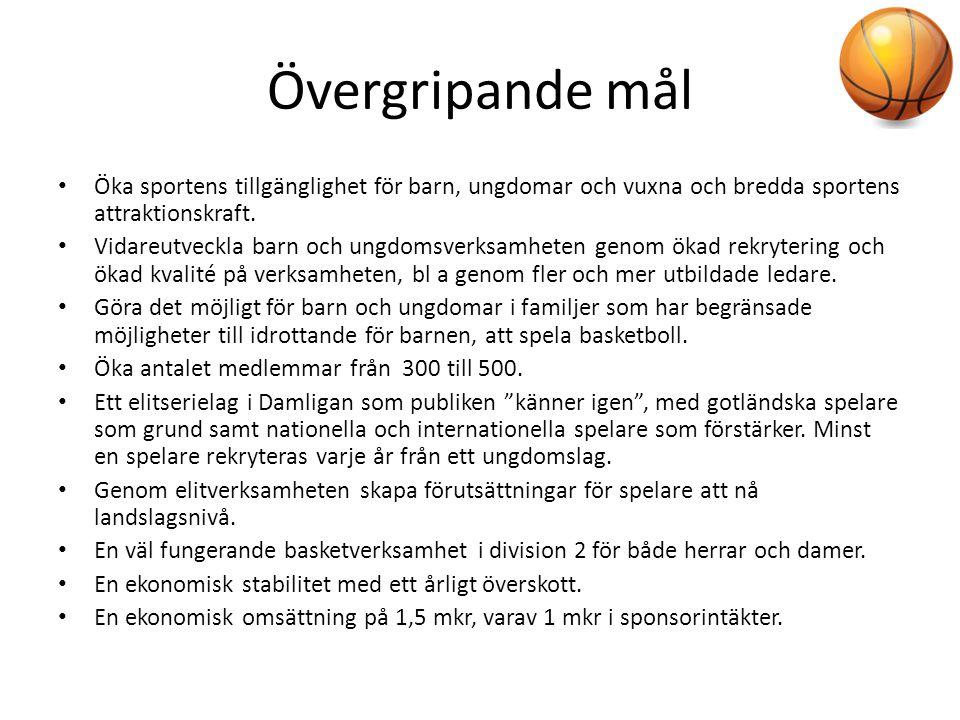 Övergripande mål • Öka sportens tillgänglighet för barn, ungdomar och vuxna och bredda sportens attraktionskraft. • Vidareutveckla barn och ungdomsver