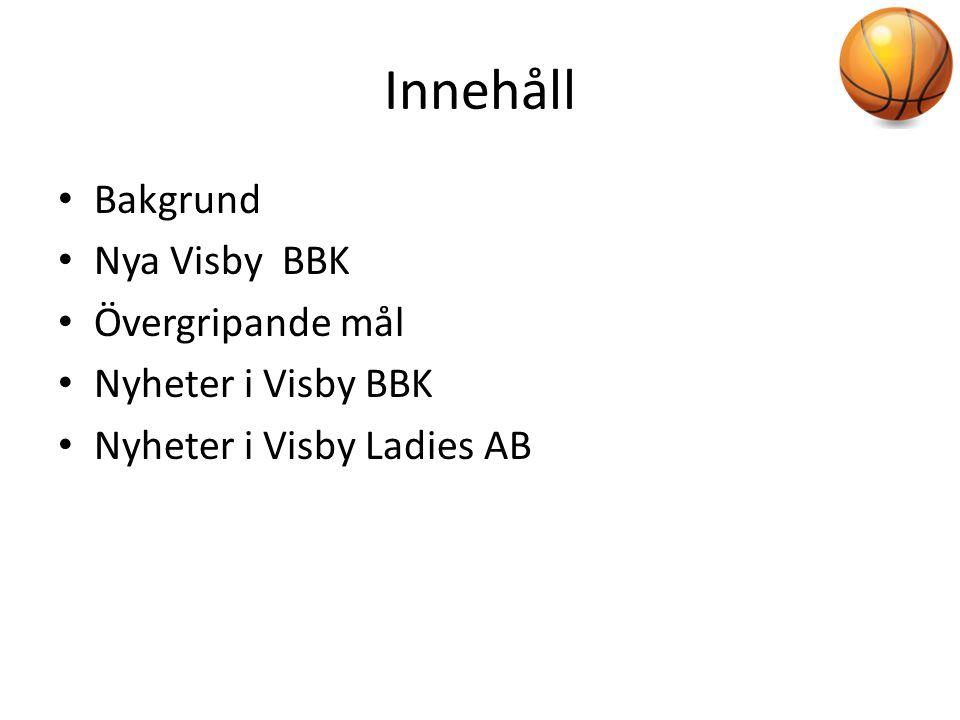 Innehåll • Bakgrund • Nya Visby BBK • Övergripande mål • Nyheter i Visby BBK • Nyheter i Visby Ladies AB