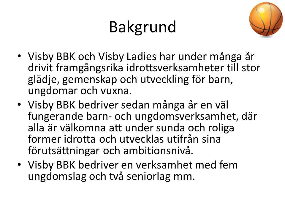 Bakgrund • Visby BBK och Visby Ladies har under många år drivit framgångsrika idrottsverksamheter till stor glädje, gemenskap och utveckling för barn,
