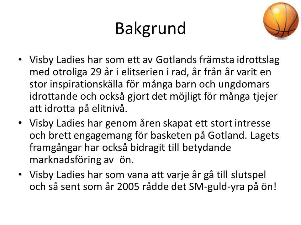 Bakgrund • Visby Ladies har som ett av Gotlands främsta idrottslag med otroliga 29 år i elitserien i rad, år från år varit en stor inspirationskälla f