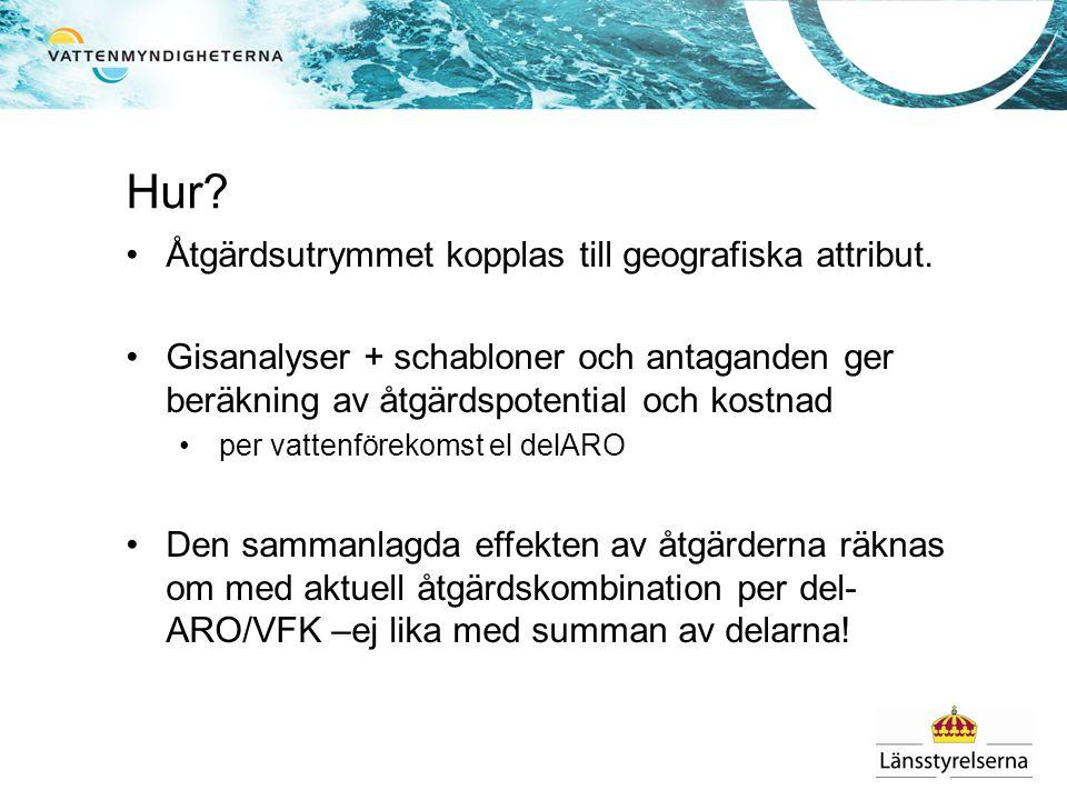 Hur? •Åtgärdsutrymmet kopplas till geografiska attribut. •Gisanalyser + schabloner och antaganden ger beräkning av åtgärdspotential och kostnad •per v
