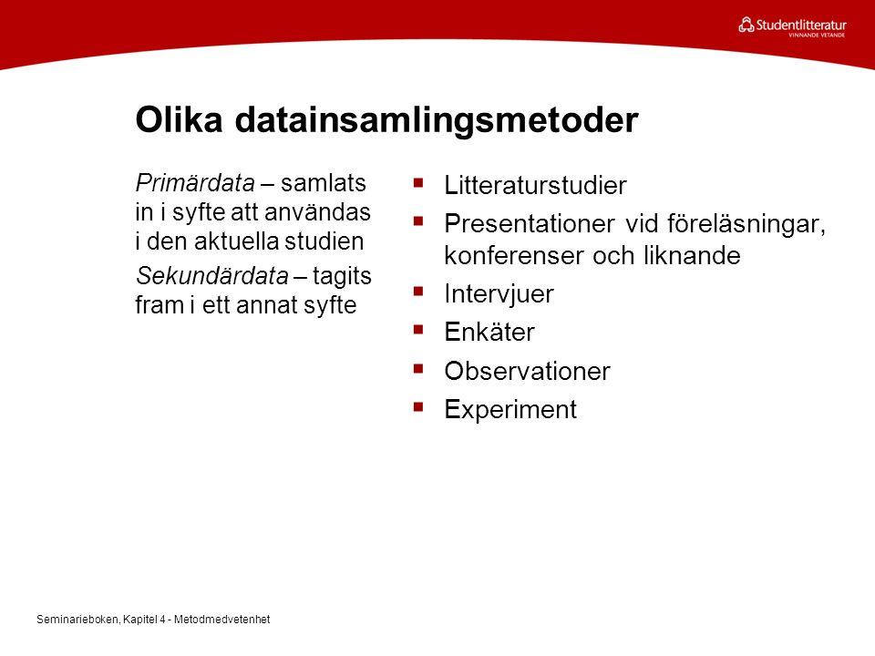 Olika datainsamlingsmetoder  Litteraturstudier  Presentationer vid föreläsningar, konferenser och liknande  Intervjuer  Enkäter  Observationer 