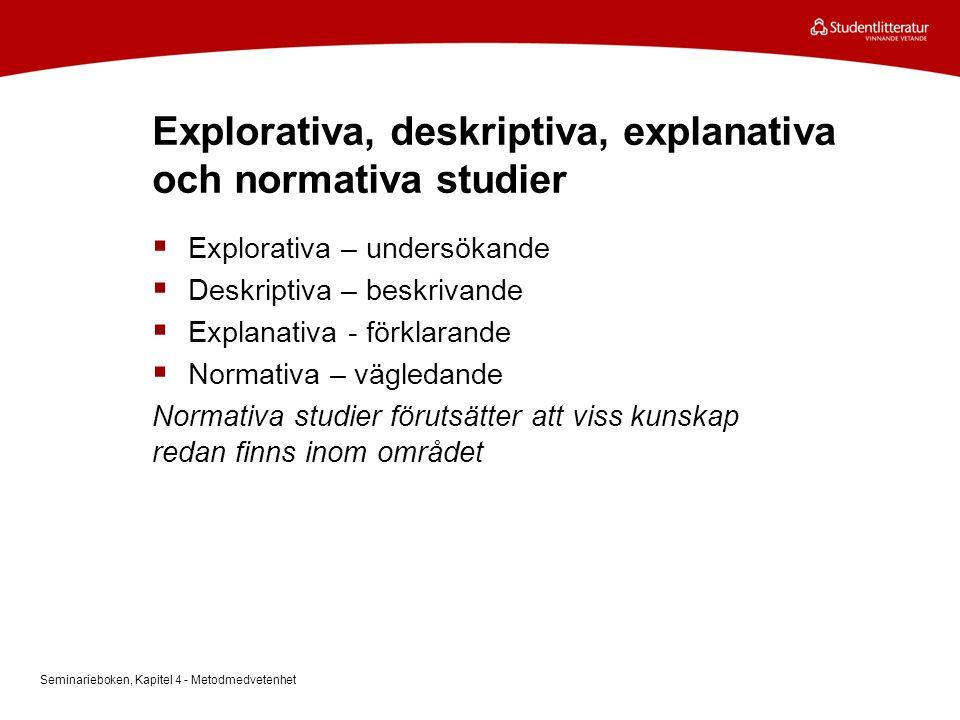 Explorativa, deskriptiva, explanativa och normativa studier  Explorativa – undersökande  Deskriptiva – beskrivande  Explanativa - förklarande  Nor