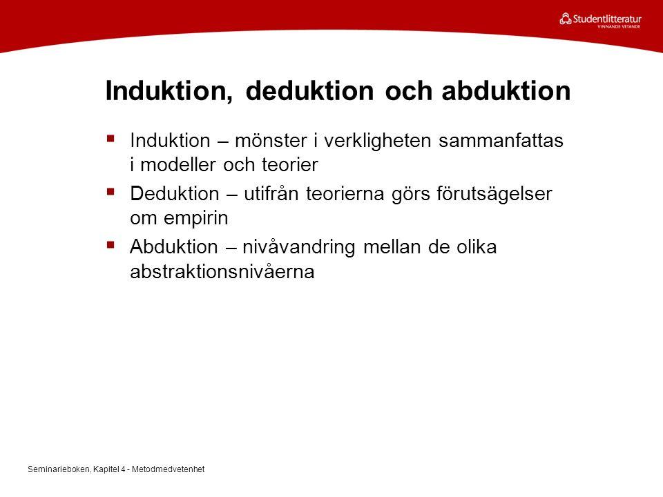 Induktion, deduktion och abduktion  Induktion – mönster i verkligheten sammanfattas i modeller och teorier  Deduktion – utifrån teorierna görs förut