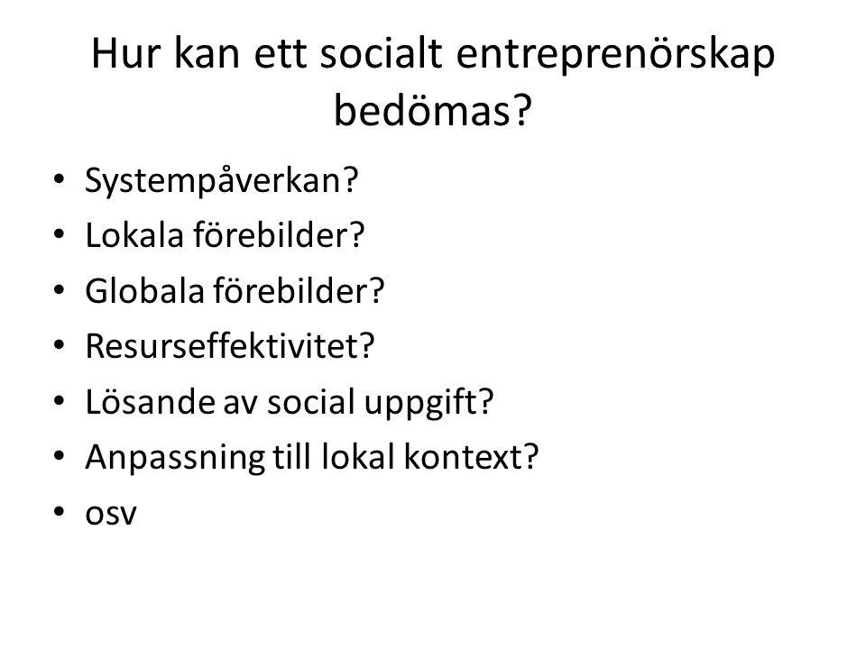 Hur kan ett socialt entreprenörskap bedömas.• Systempåverkan.