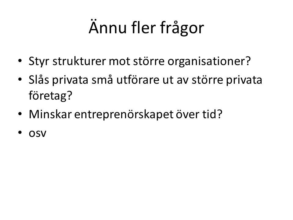 Ännu fler frågor • Styr strukturer mot större organisationer.