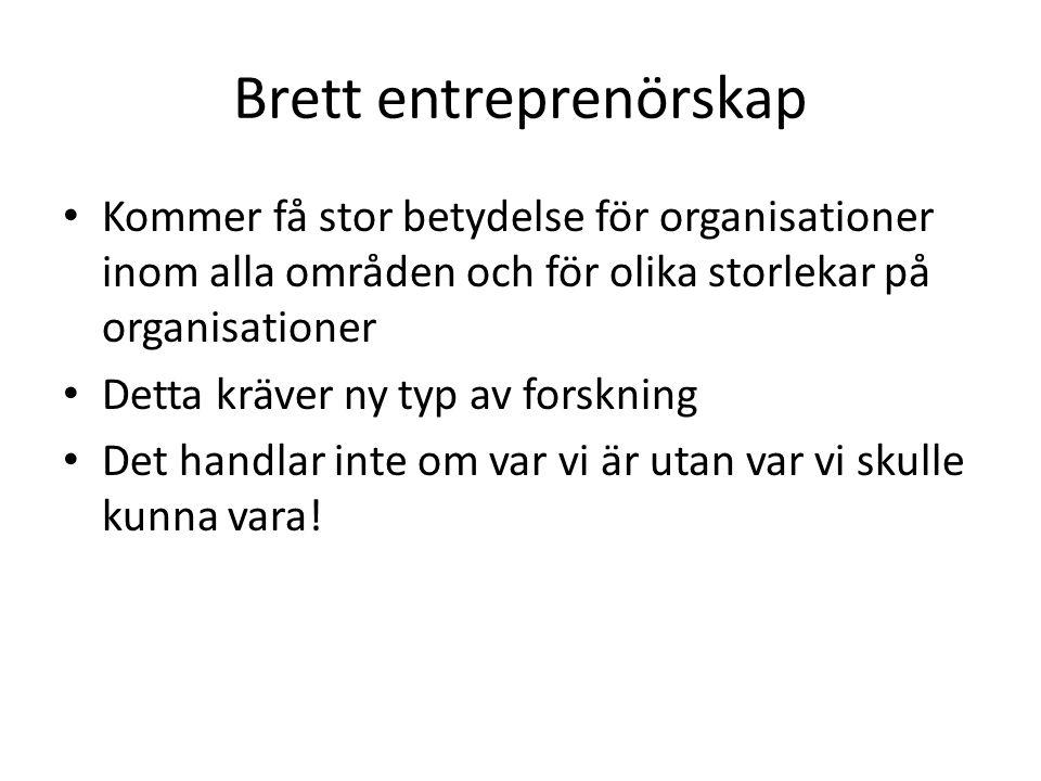 Brett entreprenörskap • Kommer få stor betydelse för organisationer inom alla områden och för olika storlekar på organisationer • Detta kräver ny typ av forskning • Det handlar inte om var vi är utan var vi skulle kunna vara!