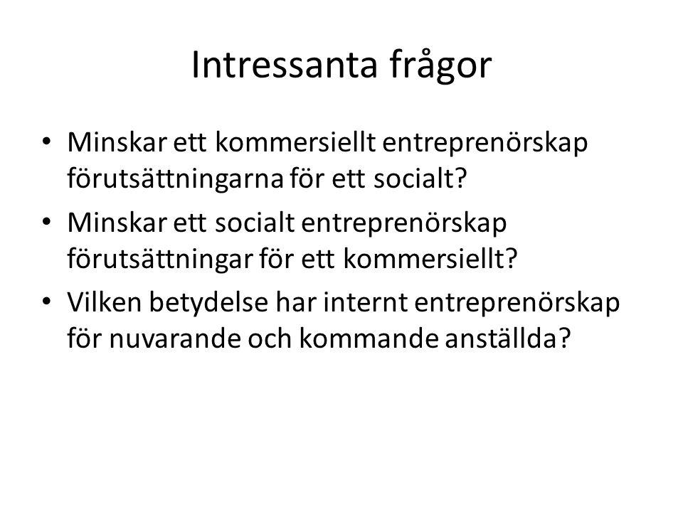 Intressanta frågor • Minskar ett kommersiellt entreprenörskap förutsättningarna för ett socialt.